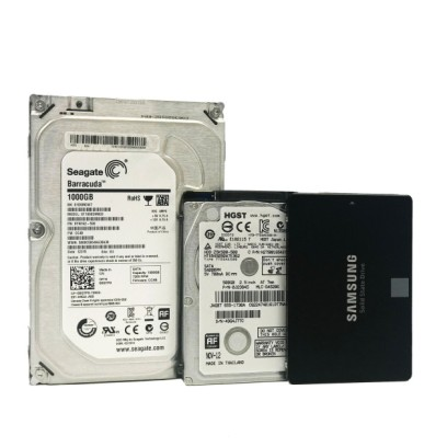Seagate Barracuda 1000GB 3.5 inch Hard Disk drive with HGST 2.5 inch Hard Disk Drive and Black Samsung Solid State Drive