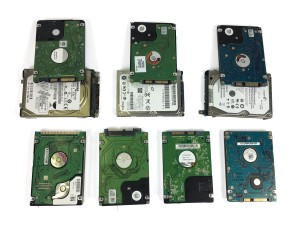 10 2.5 inch Hard disk drive lined up together