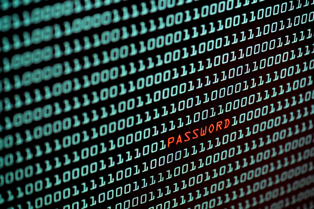 Password text and binary code concept from the desktop screen, s