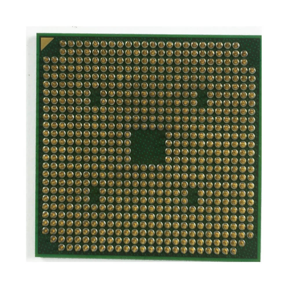 CPU with little pins forming a shape on the cpu
