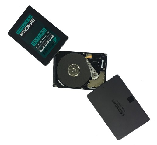 inland ssd and samsung ssd on top of hard disk drive