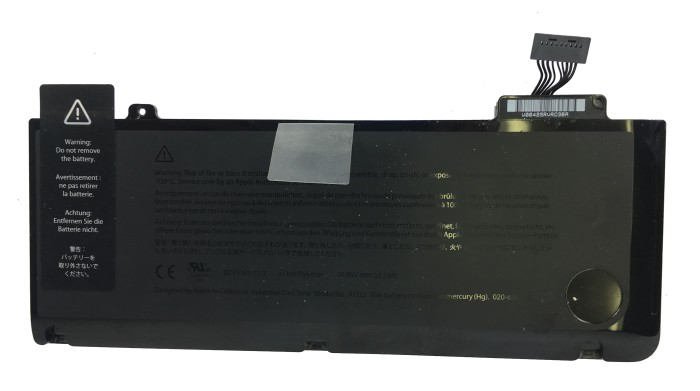 Black Battery with a warning tape on left and wire popping on right